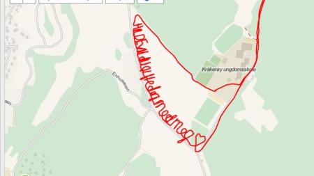 FIRE KILOMETER MED FRIERI: Slik ser kartet ut etter at Steinar   løp inn det store spørsmålet til Hilde Sofie. (Foto: Skjermdump, garmin.com)