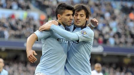 VERDIFULL DUO: Sergio Agüero og David Silva. (Foto: CLINT HUGHES/Ap)