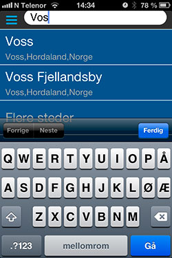 Appen foreslår steder når du skriver i søkefeltet. (Foto: storm.no)