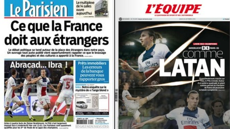 I FKOUS: Zlatan Ibrahimovic var naturligvis på forsidene av   de anerkjente franske avisene Le Parisien og L'Equipe onsdag.   (Foto: Faksimile)