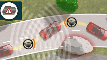 Slik viser Ford selv hvordan systemet virker. Når bilen oppdager hindringen vil den først bremse ned, så sjekke om det er trygt å svinge unna.