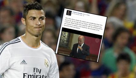 Sepp Blatter har vakt harme i Real Madrid-leiren med sine uttalelser under et møte på universitetet i Oxford nylig. Nå har han fått et syrlig svar fra Ronaldo selv. (Foto: SCANPIX/MONTASJE)