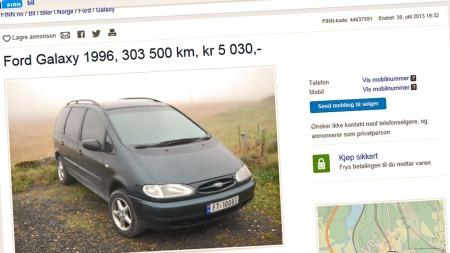 Sammen med søstermodellene fra VW og Seat er Ford Galaxy blant de billigste flerbruksbilene du kan finne i bruktmarkedet.  (Foto: Faksimile fra www.finn.no)
