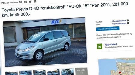 Brukt Toyota Previs - det er nå veldig mye bil for pengene.  (Foto: Faksimile fra www.finn.no)