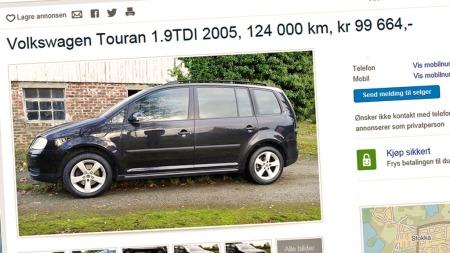 VW Touran er en klassiker for de som trenger mye plass til en hyggelig pris. For 100.000 kroner er det mye å velge mellom her. (Foto: Faksimile fra www.finn.no)