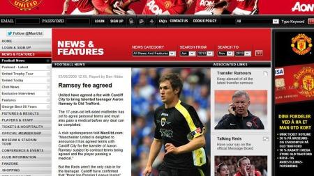 AKSEPTERT BUD I 2008: Manchester United presenterte nyheten om at de var enige med Cardiff om en overgangssum 3. juni 2008. Kun dager senere signerte han for Arsenal. (Foto: Faksmimile www.manutd.com)