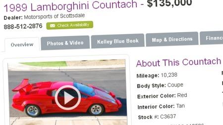 135.000 dollar er prisen her - nei, det er ikke billigsalg selv om du drar til USA for å kjøpe Countach.