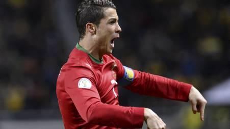 TIL VM: Cristiano Ronaldo sto frem for Portugal med hat trick mot Sverige. (Foto: JONATHAN NACKSTRAND/Afp)