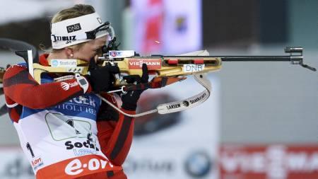 GJENNOMBRUDD: Tiril Eckhoff - her fra et verdenscuprenn i Sotsji i mars - gikk et meget godt løp i Östersund torsdag. (Foto: KIRILL KUDRYAVTSEV/Afp)