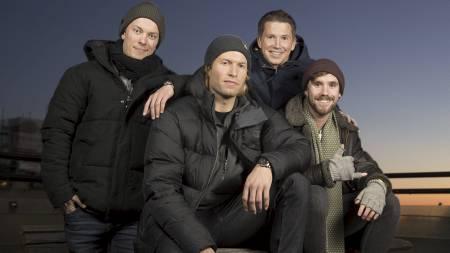Jonas Greve (bak til venstre) blir ekspertkommentator for snowboard, mens Kasper Wikestad (bak til høyre) skal kommentere. Andreas Ygre Wiig og Stian Blipp skal formidle stemning fra mixed zone. (Foto: Espen-Solli.com/)