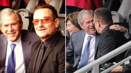 Tidligere president George W. Bush fant tonen med Bono under minnemarkeringen for Nelson Mandela i Sør-Afrika tirsdag. Bildet la han ut på Instagram.  (Foto: Georgewbush via Instagram / AP Photo/Peter Dejong)