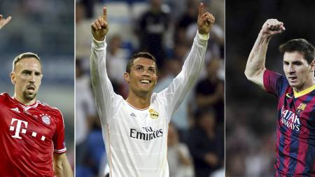 A combination of file pictures shows (L-R) Bayern Munich's French midfielder Franck Ribery, Real Madrid's Portuguese forward Cristiano Ronaldo and Barcelona's Argentinian forward Lionel Messi. Lionel Messi, Franck Ribery and Cristiano Ronaldo were on December 9, 2013 (Foto: -/Afp)