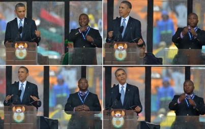 MODIG SVINDLER: Mannen som tilsynelatende tolker til tegnspråk for millioner av mennesker aner ikke hva han driver med.  (Foto: AFP PHOTO / ALEXANDER JOE)