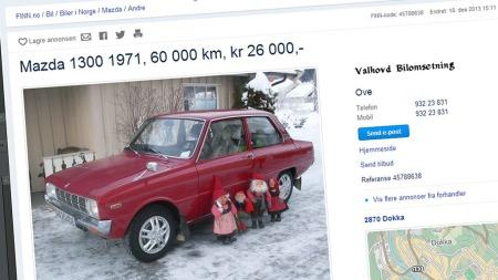 Nissebilen har stått i mange år på en fjell-låve i Hallingdal, får vi opplyst. Kanskje er det der nissene kommer inn i bildet?  (Foto: Faksimile fra finn.no)