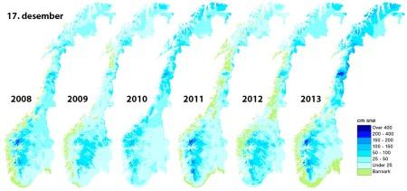 Så mye snø er det 17. desember i år, og de fem årene før. (Foto: senorge.no)