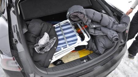 Bagasjeplass er et av Model S-ens sterkeste punkter. Bagasjerommet er svært så rommelig.