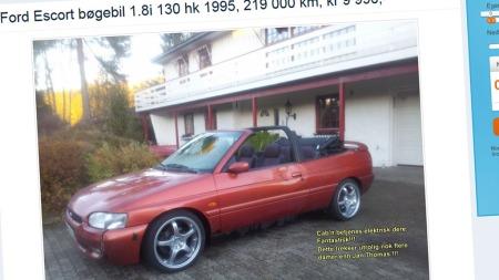Her er det nok annonseteksten og ikke bilen i seg selv som skapte store klikktall på finn.no. (Foto: Faksimile fra www.finn.no.)