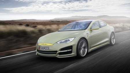 Oågs utvendig har Rinnspeed sin XchangeE et noe spesielt uttrykk. Utgangspunktet er imidlertid ikke vanskelig å se: Tesla Model S.