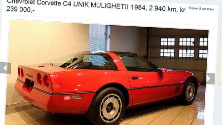Dette skal være en av verdens best bevarte originale Corvette C4. Ikke er den dyr heller...    (Foto: Faksimile fra finn.no )