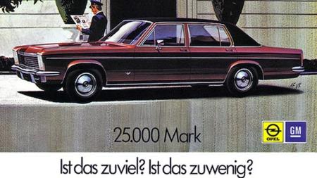 Annonsene kunne tyde på at GM selv var overrasket over å finne en Opel i denne prisklassen. Toppmodellen av Diplomat kom med Chevrolet V8 og Powerglide automat, og hadde Mercedes sine SEL-utgver i kikkerten. (Foto: GM)