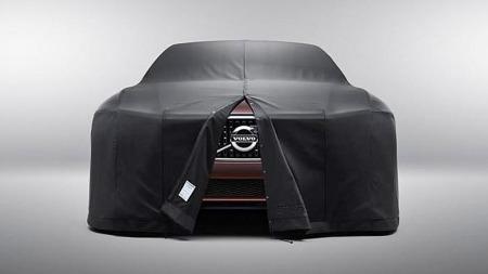 Den nye Volvo-fronten er på på plass også på stasjonsvogn-konseptet. En stor logo dominerer grillen.