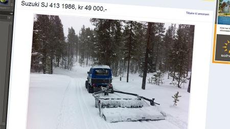 På jobb i skogen, med å lage nye skiløyper (Foto: Faksimile fra finn.no)