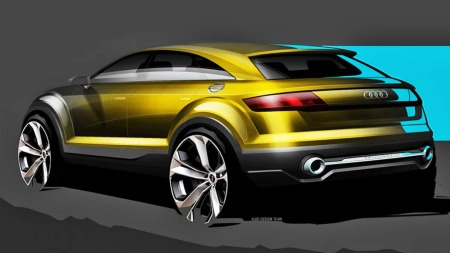 Det er MYE hjulbuer på skissene som er sluppet av Audi. Konseptbilen vises 20. april.