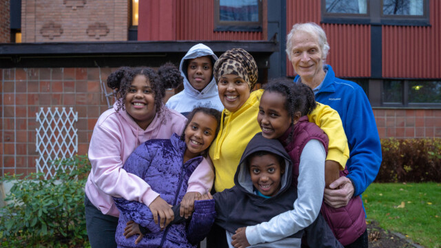 PART OF THE FAMILY: Rama Jama with five children and professor of mathematics Atla.