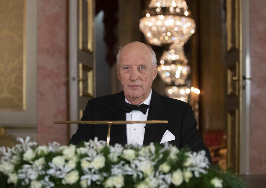 Kong Harald avbildet i anledning sin tradisjonelle nyttårstale i desember 2019. Foto: Terje Bendiksby / NTB