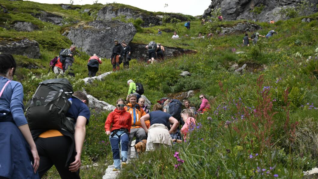 IRRITERT: Er det mygg, hundebæsj eller søppel? Eller kanskje er det for mye folk? Dette sier det norske folk irriterer dem mest i naturen. Her fra Reine, et populært turmål i Lofoten.