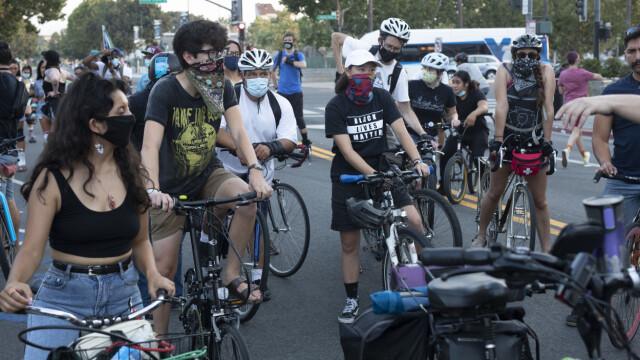 TWO-WHEEL DEMO: Rolling demonstrations were held through San Jose, California.