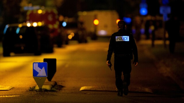 INVESTIGATION: Police are on the scene in Eragny, where the suspected perpetrator was shot and killed on Friday.