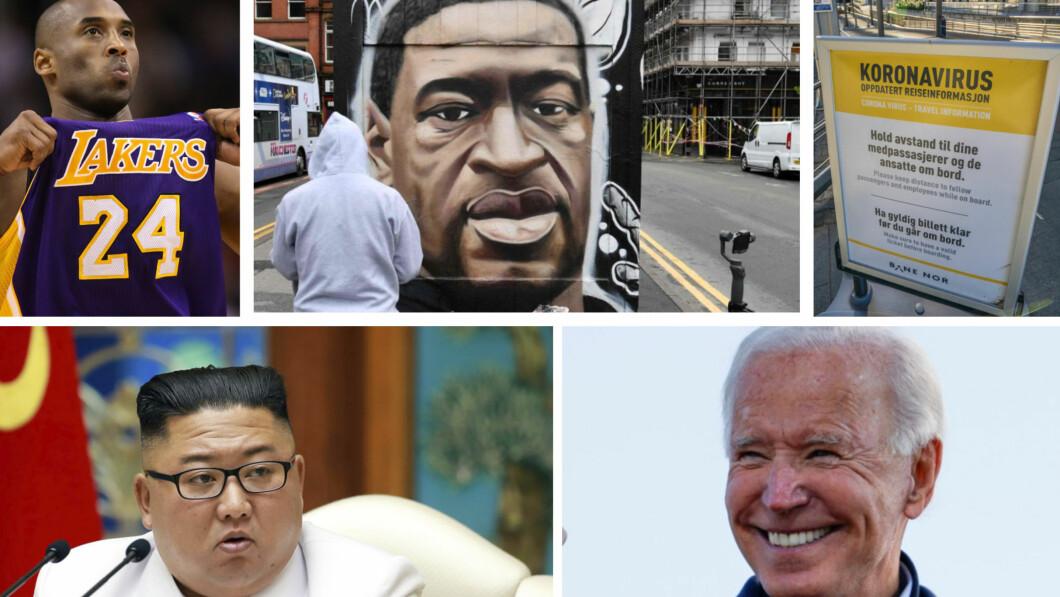 GOOGLE: I 2020 har nordmenn flest googlet Kobe Bryant, George Floyd, koronaviruset, Kim Jong-Un og Joe Biden. Foto: Reuters/AFP/NTB/Korean Central News Agency/Korea News Service via AP