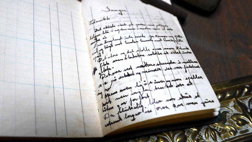 Poesia: chi ha scritto la canzone nel diario?  Henning ha scritto la poesia?  Qualche testo: «Era peggio durante la notte essere tra il 12-2 sul ponte e neimend se era completamente silenzioso.  Mentre alcuni dormivano e alcuni giocavano a carte, nessuno pensava che la barca fosse persa