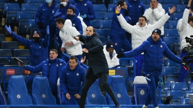 JUBEL: Thomas Tuchel og Chelsea-benken slipper jubelen løs etter kampen.