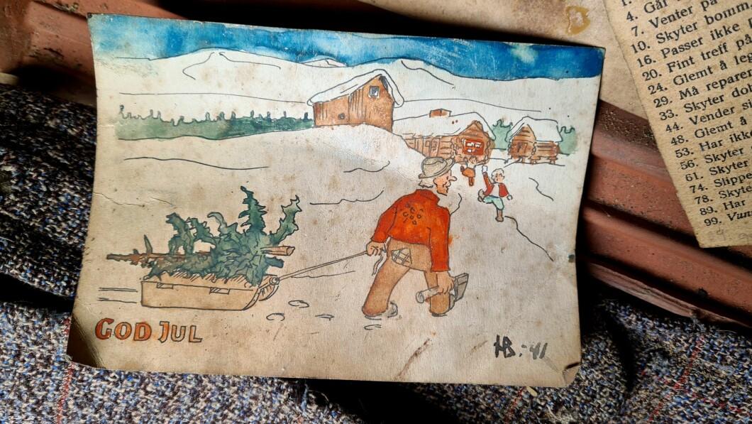Biglietto natalizio: Biglietto natalizio fatto a mano, disegnato, colorato e firmato «HB 41».  Henning aveva solo 10 anni quando lo realizzò.