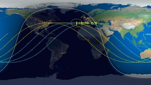 MAPPA: le linee (chiamate anche percorsi di traiettoria) mostrano dove viaggerà il missile nell'intervallo di tempo in cui sarebbe caduto.  Questi sono i punti in cui è possibile che cada (appena sotto la linea).