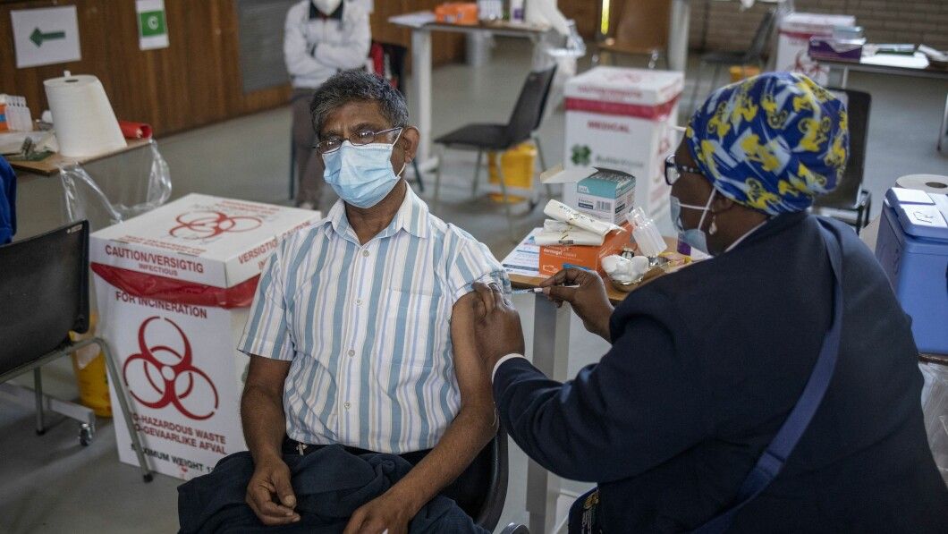 Get Vaccines: Only 2 percent of Africa's population is vaccinated.  This man is also one of the few who got the much needed drops.