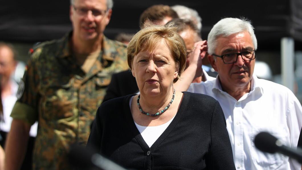 Angela Merkel visited Schultz village on Sunday.