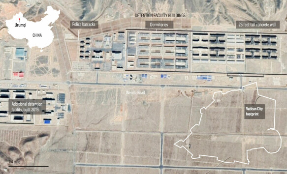 Satellite images show the enormous scope of this facility, which will be expanded in 2019.  In the lower right you can see part of the Vatican City, which is shrinking compared to the prison.
