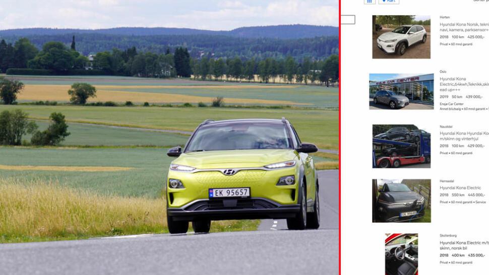 66fcec690 Hyundai Kona Electric: «Tesla-tilstander» med ny elbil på bruktmarkedet