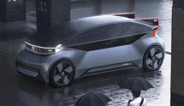 Futuristisk design, her utnytter Volvo fordelene førerløse biler gir.