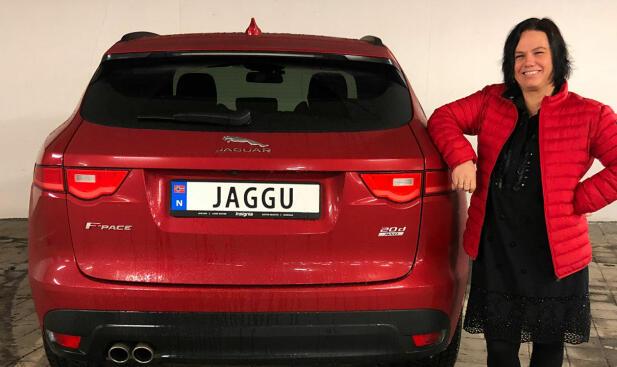 Ingen tvil: Line kjører Jaguar! Foto: Privat.
