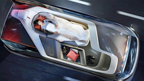 Nye tider med autonome biler gir nye utfordringer til hvordan de ombord skal sikres. Dette er fra Volvos konseptbil 360c.