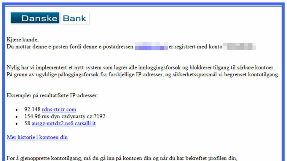 d0cfbe69 TROVERDIG: Den falske e-posten er vellagd og har få skrivefeil.