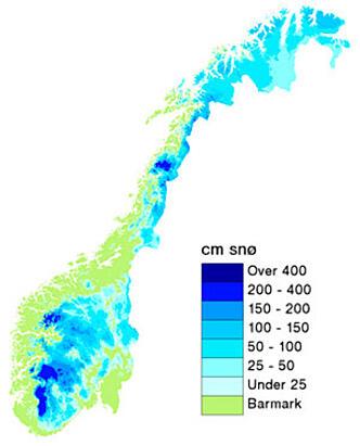 snødybde kart 100 mm nedbør på 24 timer snødybde kart