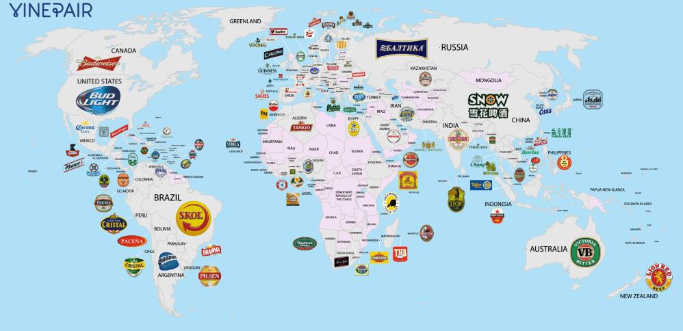 kart over verdens land Her er verdens mest populære øl fra hvert land kart over verdens land