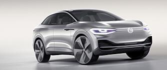 I.D. er navnet på en helt ny serie med elektriske biler fra VW. Først ut kommer en modell på størrelse med Golf (2020). Men VW har også vist et crossover-konsept (bildet) som er ventet ikke lenge etterpå.