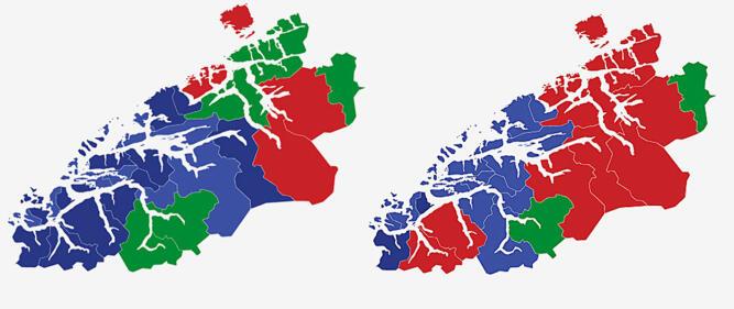 MØRE OG ROMSDAL: Kartene viser største parti i kommunene i Møre og Romsdal ved stortingsvalgene i 2017 (t.v.) og 2013. Rød farge er Arbeiderpartiet, mørke blått er Fremskrittspartiet. lyse blått er Høyre og grønt er Senterpartiet. Grafikk: TV 2.