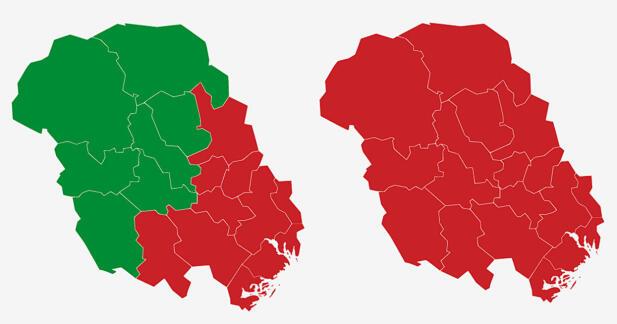 TELEMARK: Kartene viser største parti i kommunene i Telemark ved stortingsvalgene i 2017 (t.v) og 2013. Rød farge er Arbeiderpartiet og grønn farge Senterpartiet. Grafikk: TV 2.